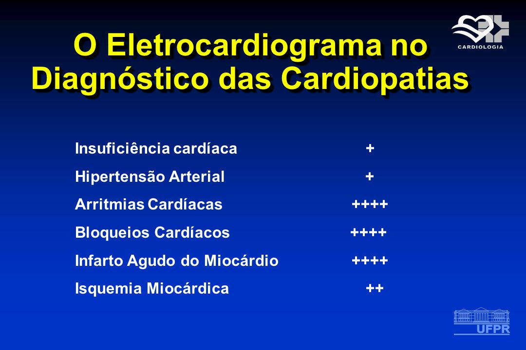 O Eletrocardiograma no Diagnóstico das Cardiopatias Insuficiência cardíaca + Hipertensão Arterial + Arritmias Cardíacas ++++ Bloqueios Cardíacos ++++