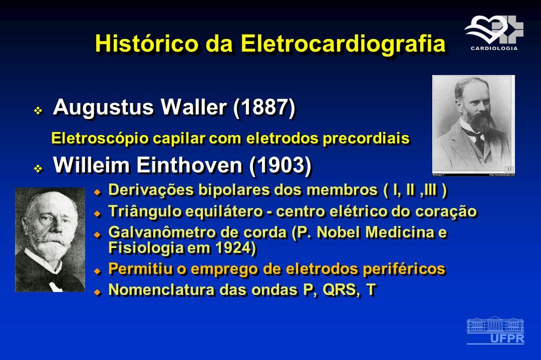 Histórico da Eletrocardiografia Augustus Waller (1887) Eletroscópio capilar com eletrodos precordiais Willeim Einthoven (1903) Derivações bipolares do