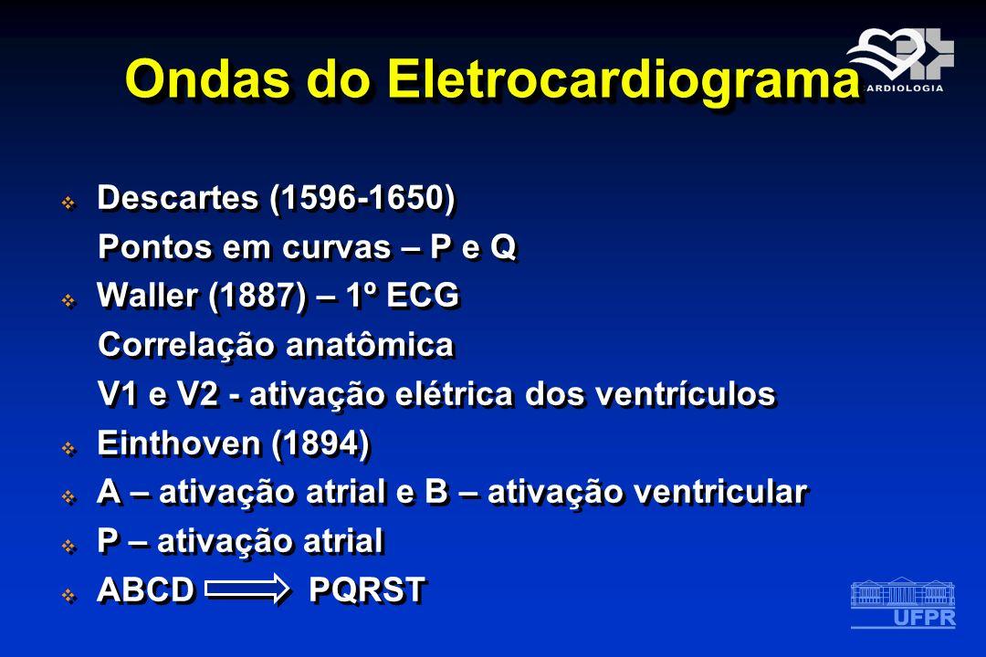 Ondas do Eletrocardiograma Descartes (1596-1650) Pontos em curvas – P e Q Waller (1887) – 1º ECG Correlação anatômica V1 e V2 - ativação elétrica dos