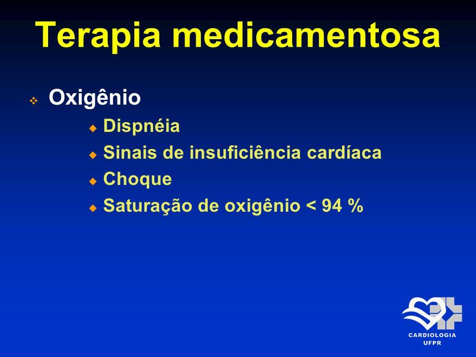 Terapia medicamentosa Oxigênio Dispnéia Sinais de insuficiência cardíaca Choque Saturação de oxigênio < 94 %