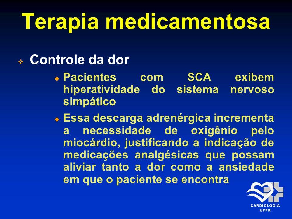 Terapia medicamentosa Morfina 2,0-4,0 mg 5-15 min Deve ser administrado por via intravenosa na dose diluída de 2,0-4,0 mg, podendo ser repetida em intervalos de 5-15 min No IAM de parede inferior, não deve ser utilizada pelo grande potencial de ocasionar hipotensão arterial grave e refratária