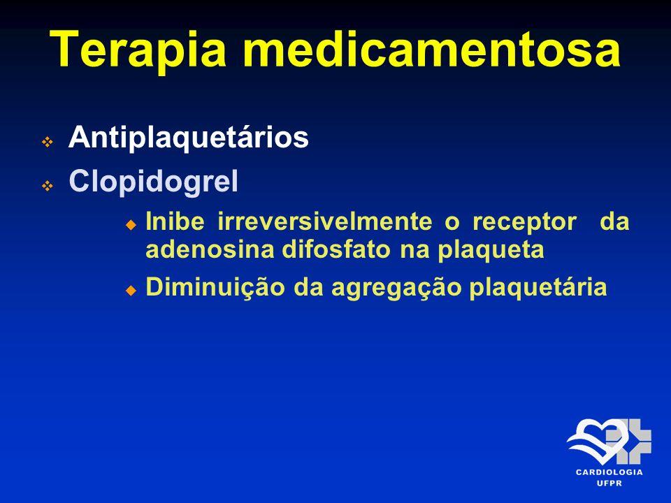 Terapia medicamentosa Antiplaquetários Clopidogrel Indicado para pacientes com SCA de moderado e alto risco e para pacientes com Infarto agudo do miocárdio COM SUPRA desnível de ST em adição aos outros medicamentos (aspirina, anticoagulante e fibrinolítico)