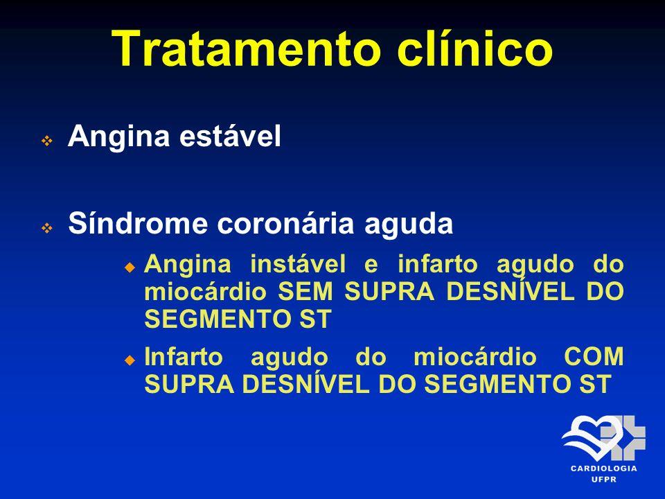 Tratamento clínico Angina estável Síndrome coronária aguda Angina instável e infarto agudo do miocárdio SEM SUPRA DESNÍVEL DO SEGMENTO ST Infarto agud