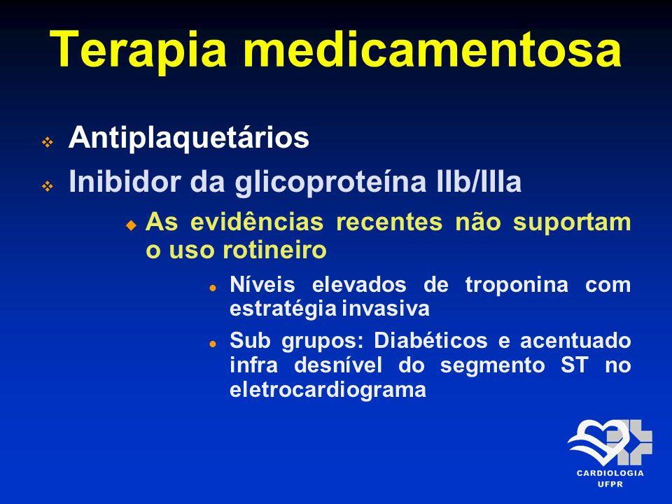 Terapia medicamentosa Heparina É um inibidor indireto da trombina Utilizada na SCA como terapia adjunta para fibrinólise e em combinação com aspirina e outros antiplaquetários