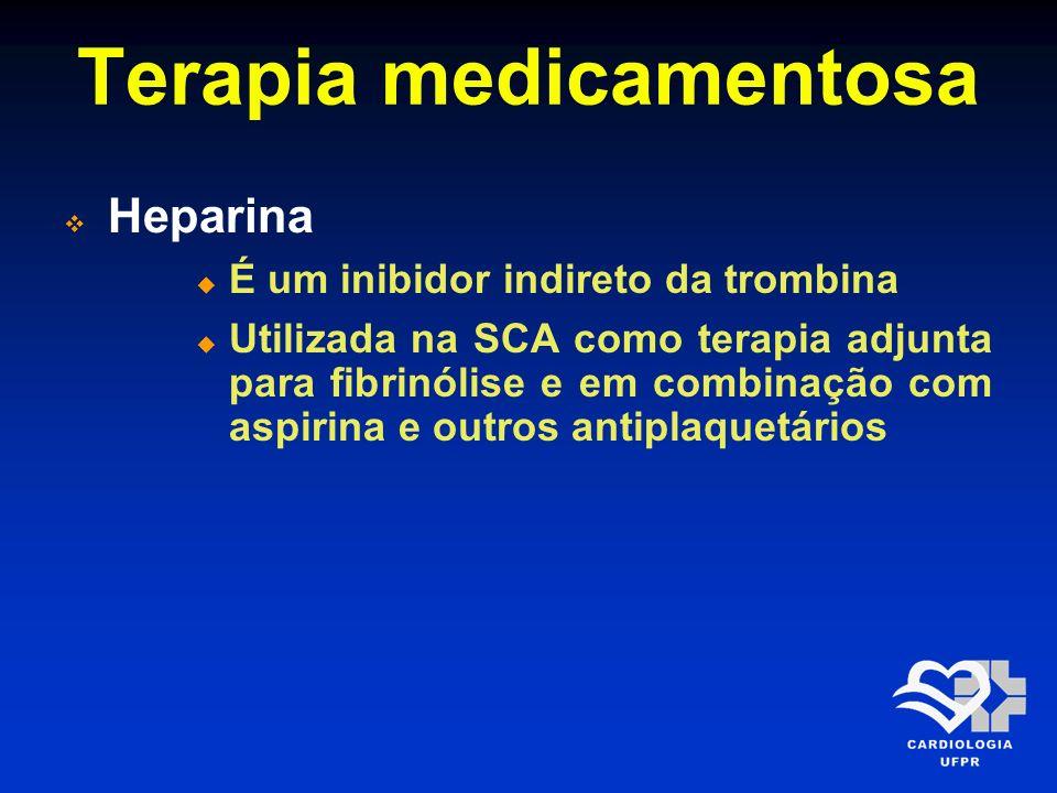 Terapia medicamentosa Heparina É um inibidor indireto da trombina Utilizada na SCA como terapia adjunta para fibrinólise e em combinação com aspirina
