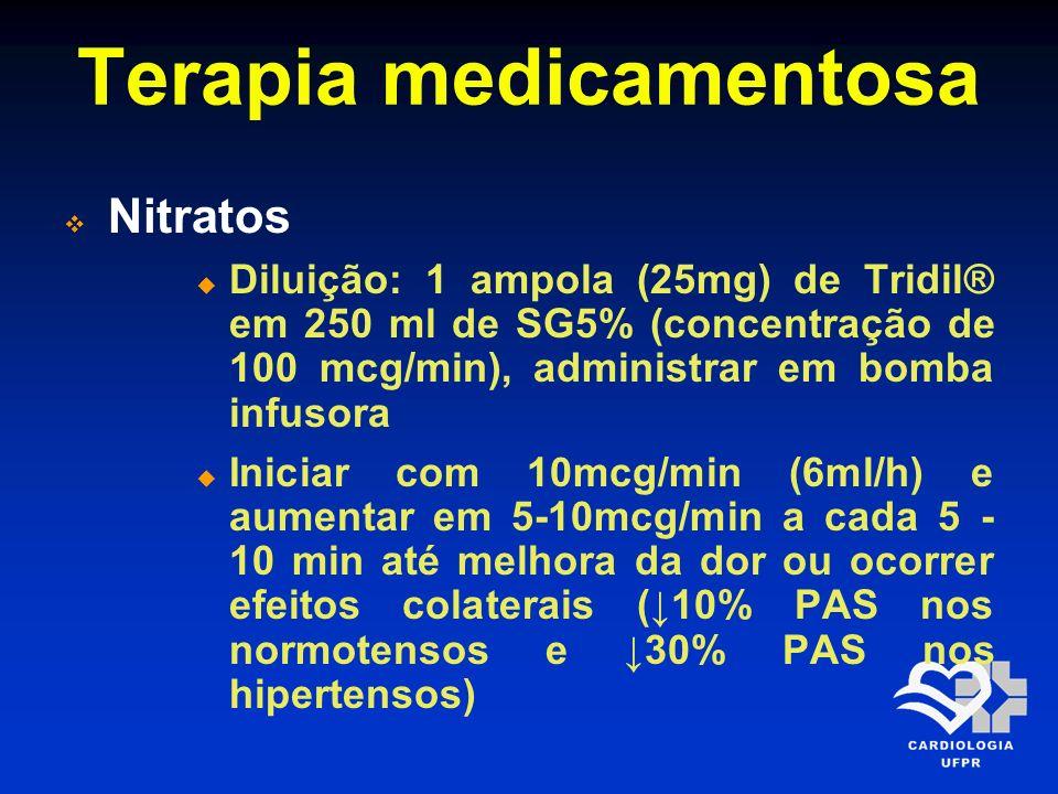 Terapia medicamentosa Nitratos Diluição: 1 ampola (25mg) de Tridil® em 250 ml de SG5% (concentração de 100 mcg/min), administrar em bomba infusora Ini