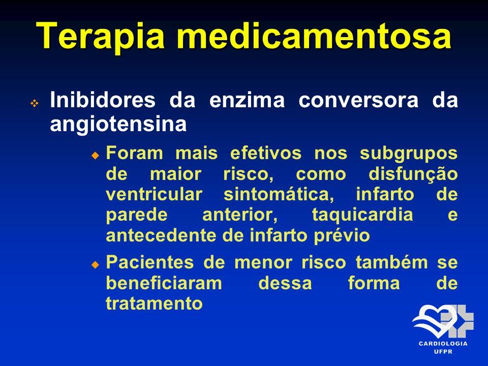 Terapia medicamentosa EstudoIECADose inicial Dose-alvo SAVE CCS Captopril6,25 mg (primeira dose) e duas horas após: 12,5 mg 2 x dia 50 mg 3 x dia SOLVDEnalapril2,5 mg 2 x dia10 mg 2 x dia AIRERamipril2,5 mg 2 x dia5 mg 2 x dia GISSI-3Lisinopril5,0 mg 1 x dia10 mg 2 x dia TRACETrandolapril1,0 mg 1 x dia4,0 mg 1 x dia Arq Bras Cardiol 2009; 93(6 Supl.