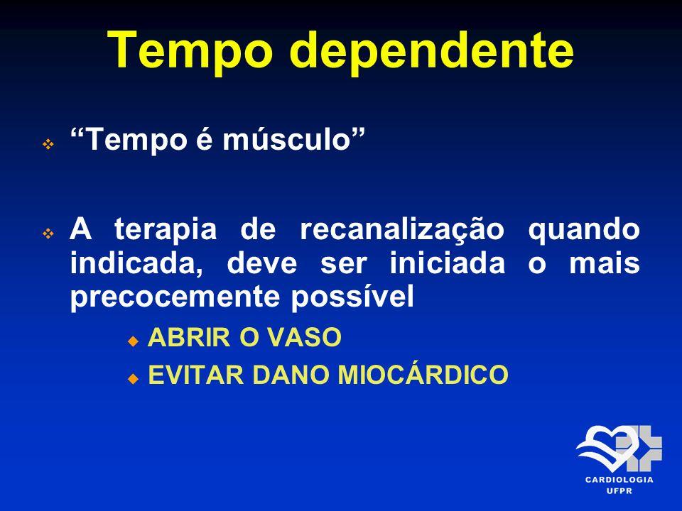 Tempo dependente Tempo é músculo A terapia de recanalização quando indicada, deve ser iniciada o mais precocemente possível ABRIR O VASO EVITAR DANO M