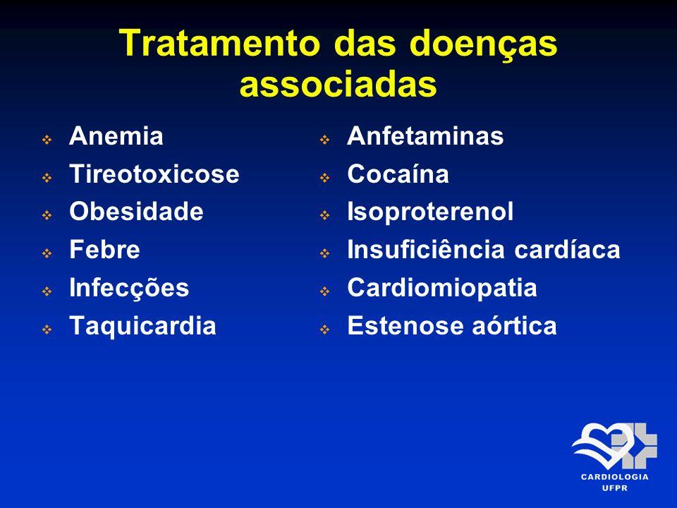 Tratamento das doenças associadas Anemia Tireotoxicose Obesidade Febre Infecções Taquicardia Anfetaminas Cocaína Isoproterenol Insuficiência cardíaca