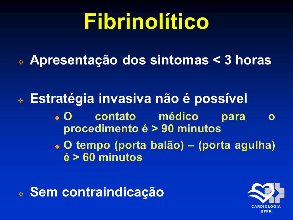 Fibrinolítico AgenteTratamento Antitrombótico SK1,5 milhões UI em 100 ml de SG5% ou SF 0,9% em 30-60 minutos HNF ajustada ao peso por 48 horas ou enoxaparina por até 8 dias tPA15 mg EV em bolo, seguidos por 0,75 mg/kg em 30 minutos e então 0,50 mg/kg em 60 minutos A dose total não deve exceder 100 mg HNF ajustada ao peso por 48 horas ou enoxaparina por até 8 dias TNK-tPABolo único: 30 mg se < 60 kg 35 mg se entre 60 kg e menor que 70 kg 40 mg se entre 70 kg e menor que 80 kg 45 mg se entre 80 kg e menor que 90 kg 50 mg se maior que 90 kg de peso HNF ajustada ao peso por 48 horas ou enoxaparina por até 8 dias Arq Bras Cardiol 2009; 93(6 Supl.