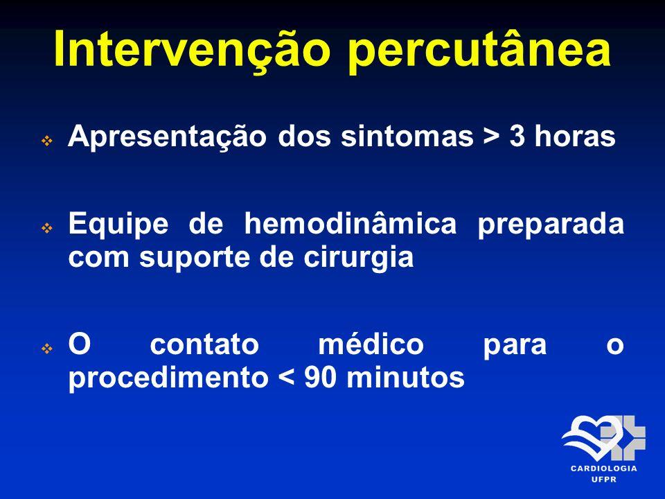 Intervenção percutânea O tempo (porta balão) – (porta agulha) é < 60 minutos Fibrinólise contraindicada Paciente alto risco (Killip > 3) Diagnóstico dúbio