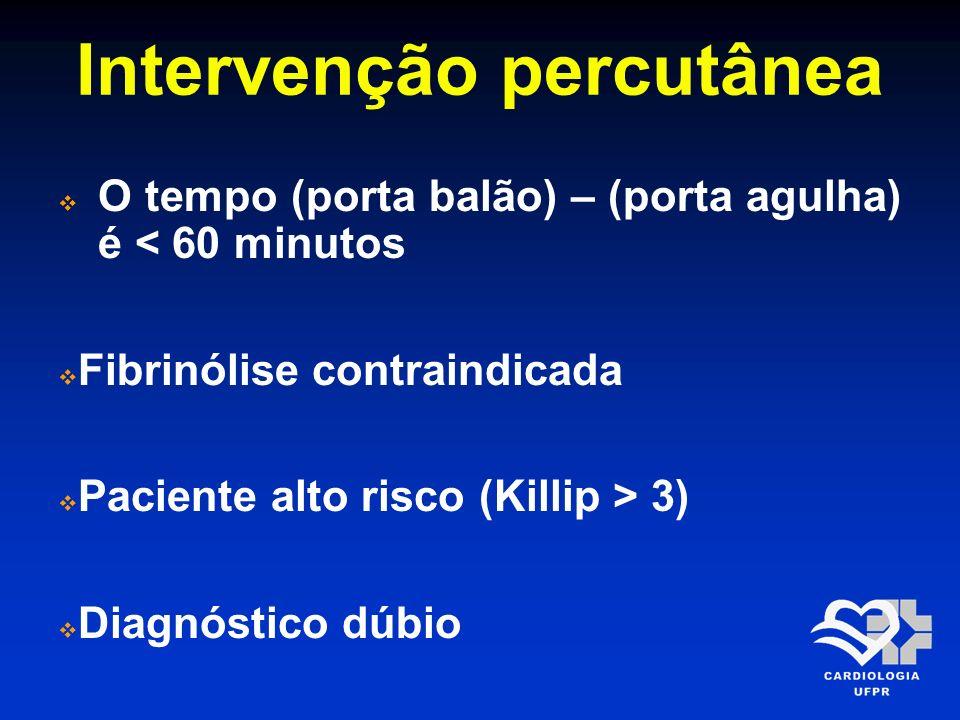 Intervenção percutânea O tempo (porta balão) – (porta agulha) é < 60 minutos Fibrinólise contraindicada Paciente alto risco (Killip > 3) Diagnóstico d