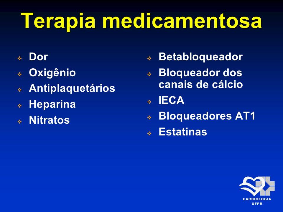 Terapia medicamentosa Dor Oxigênio Antiplaquetários Heparina Nitratos Betabloqueador Bloqueador dos canais de cálcio IECA Bloqueadores AT1 Estatinas