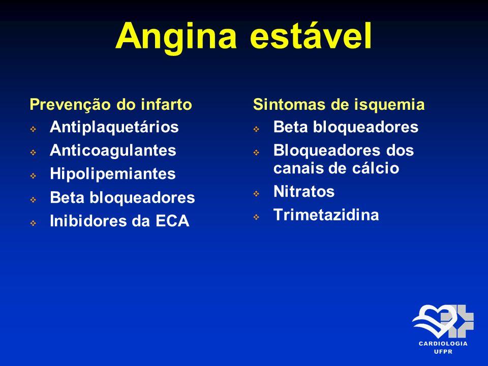 Angina estável Prevenção do infarto Antiplaquetários Anticoagulantes Hipolipemiantes Beta bloqueadores Inibidores da ECA Sintomas de isquemia Beta blo