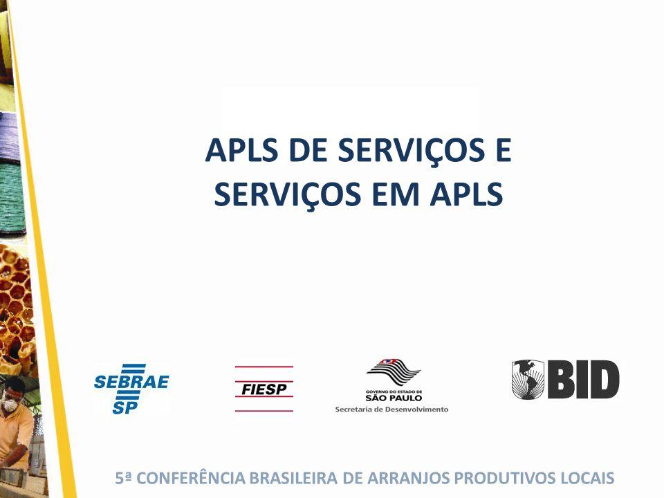 5ª CONFERÊNCIA BRASILEIRA DE ARRANJOS PRODUTIVOS LOCAIS (cor da fonte) APLS DE SERVIÇOS E SERVIÇOS EM APLS