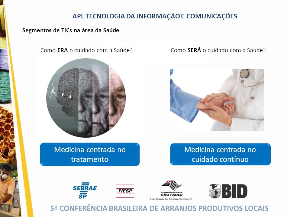 5ª CONFERÊNCIA BRASILEIRA DE ARRANJOS PRODUTIVOS LOCAIS (cor da fonte) APL TECNOLOGIA DA INFORMAÇÃO E COMUNICAÇÕES Medicina centrada no tratamento Com