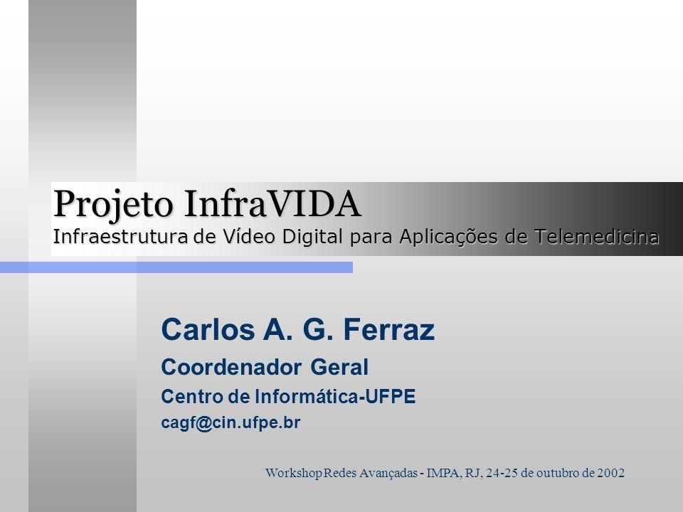 Workshop Redes Avançadas - IMPA, RJ, 24-25 de outubro de 2002 Projeto InfraVIDA Infraestrutura de Vídeo Digital para Aplicações de Telemedicina Carlos