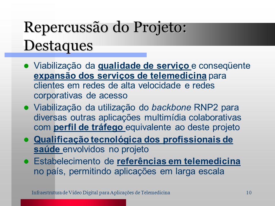 Infraestrutura de Vídeo Digital para Aplicações de Telemedicina10 Repercussão do Projeto: Destaques Viabilização da qualidade de serviço e conseqüente