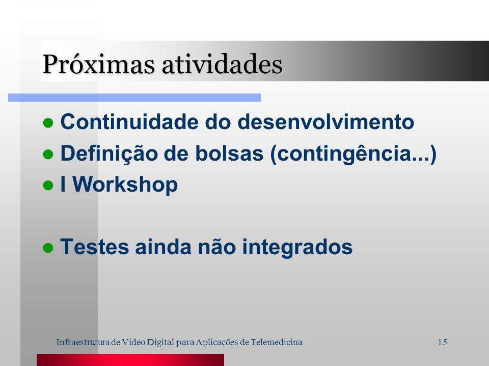 Infraestrutura de Vídeo Digital para Aplicações de Telemedicina15 Próximas atividades Continuidade do desenvolvimento Definição de bolsas (contingênci