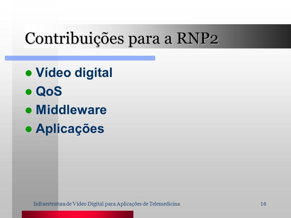 Infraestrutura de Vídeo Digital para Aplicações de Telemedicina16 Contribuições para a RNP2 Vídeo digital QoS Middleware Aplicações