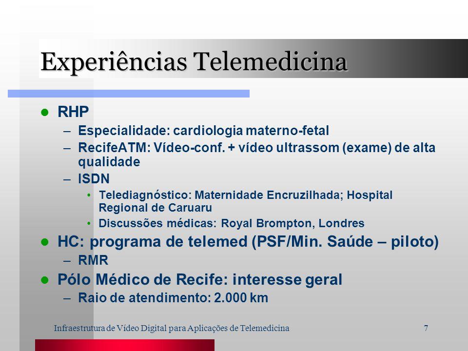 Infraestrutura de Vídeo Digital para Aplicações de Telemedicina7 Experiências Telemedicina RHP –Especialidade: cardiologia materno-fetal –RecifeATM: V