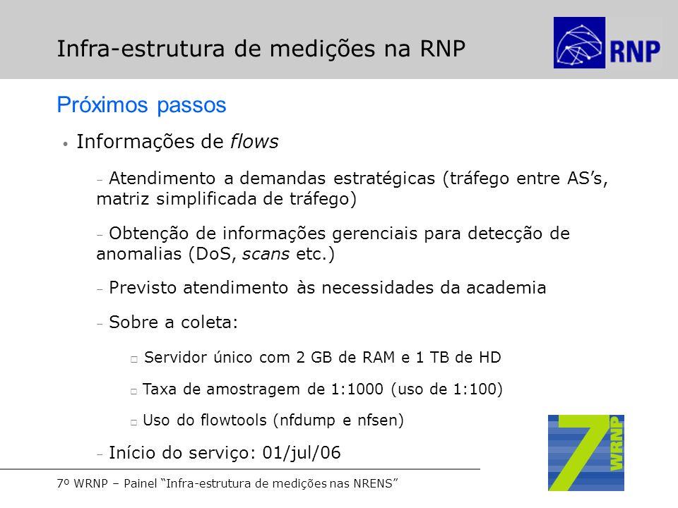 7º WRNP – Painel Infra-estrutura de medições nas NRENS Infra-estrutura de medições na RNP Próximos passos Informações de flows – Atendimento a demanda