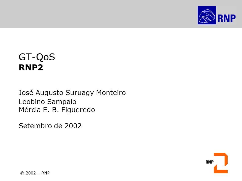 GT-QoS: Workshop de Redes Avançadas – IMPA, 25 de Setembro de 2002 Projeto Piloto de QoS da RNP Mecanismos testados: – O mecanismo de fila LLQ (Low Latency Queueing) – Sua implementação se vale de uma fila com prioridade para o serviço Premium e filas usando a política CBWFQ (Class-based Weighted Fair Queueing) para as demais classes; – É obrigatório alocar um mínimo de 25% da banda para a classe Best Effort; – A Cisco recomenda o uso de, no máximo, 5 classes de tráfego.