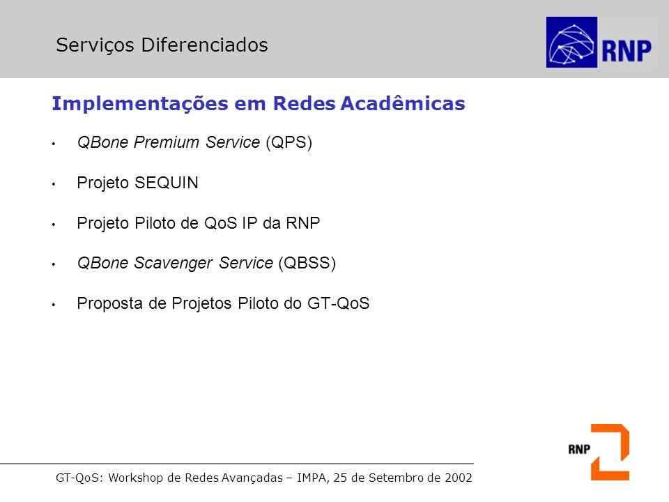 GT-QoS: Workshop de Redes Avançadas – IMPA, 25 de Setembro de 2002 Implementações em Redes Acadêmicas QBone Premium Service (QPS) Projeto SEQUIN Projeto Piloto de QoS IP da RNP QBone Scavenger Service (QBSS) Proposta de Projetos Piloto do GT-QoS Serviços Diferenciados
