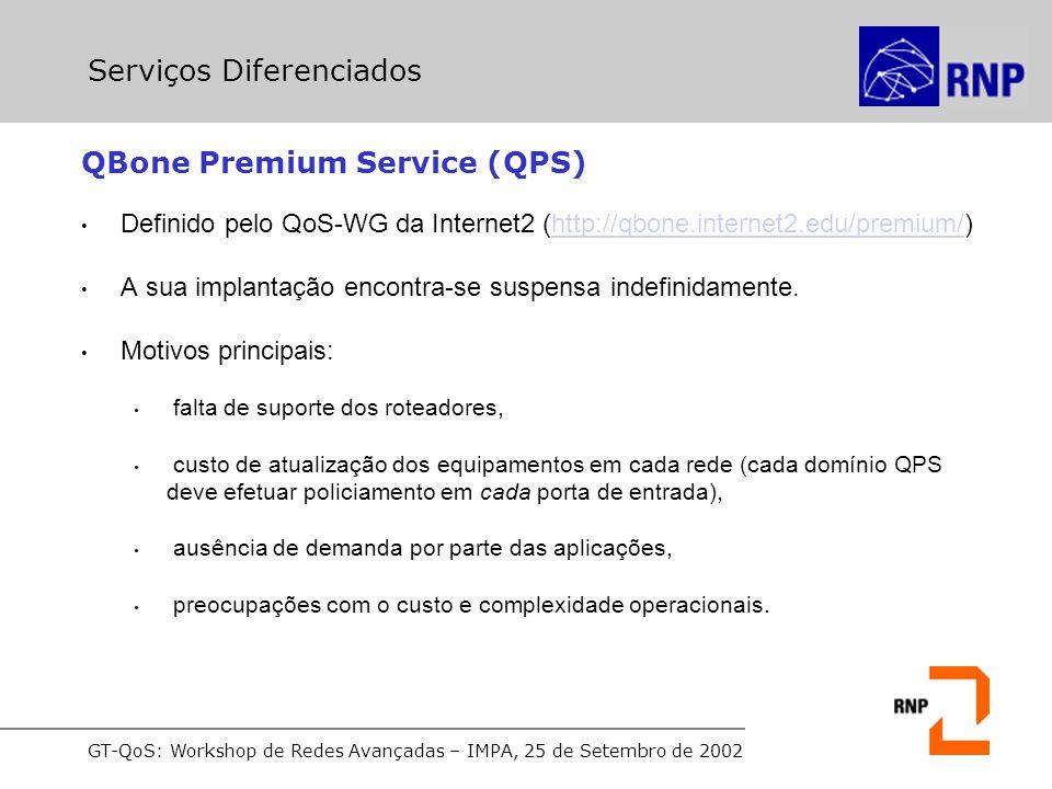 GT-QoS: Workshop de Redes Avançadas – IMPA, 25 de Setembro de 2002 QBone Premium Service (QPS) Definido pelo QoS-WG da Internet2 (http://qbone.internet2.edu/premium/)http://qbone.internet2.edu/premium/ A sua implantação encontra-se suspensa indefinidamente.