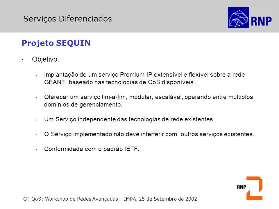 GT-QoS: Workshop de Redes Avançadas – IMPA, 25 de Setembro de 2002 Projeto SEQUIN Objetivo: Implantação de um serviço Premium IP extensível e flexível sobre a rede GÉANT, baseado nas tecnologias de QoS disponíveis.