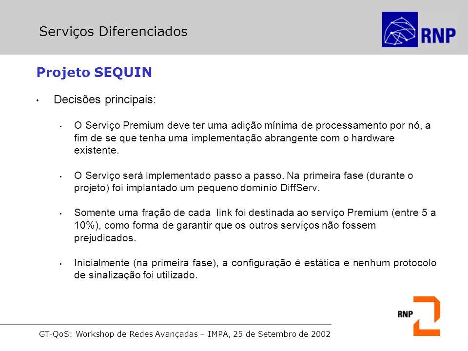 GT-QoS: Workshop de Redes Avançadas – IMPA, 25 de Setembro de 2002 Projeto SEQUIN Decisões principais: O Serviço Premium deve ter uma adição mínima de processamento por nó, a fim de se que tenha uma implementação abrangente com o hardware existente.