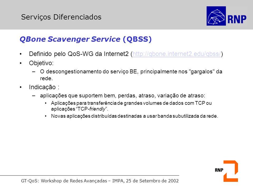 GT-QoS: Workshop de Redes Avançadas – IMPA, 25 de Setembro de 2002 QBone Scavenger Service (QBSS) Definido pelo QoS-WG da Internet2 (http://qbone.internet2.edu/qbss/)http://qbone.internet2.edu/qbss/ Objetivo: –O descongestionamento do serviço BE, principalmente nos gargalos da rede.