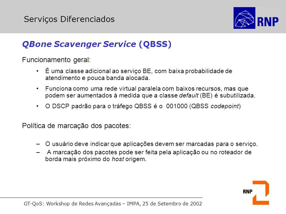 GT-QoS: Workshop de Redes Avançadas – IMPA, 25 de Setembro de 2002 QBone Scavenger Service (QBSS) Funcionamento geral: É uma classe adicional ao serviço BE, com baixa probabilidade de atendimento e pouca banda alocada.