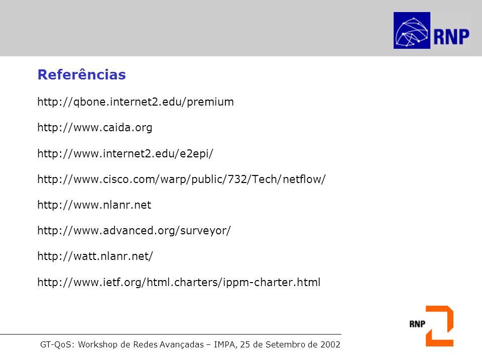 GT-QoS: Workshop de Redes Avançadas – IMPA, 25 de Setembro de 2002 Referências http://qbone.internet2.edu/premium http://www.caida.org http://www.inte