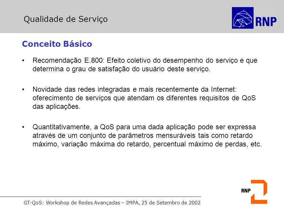 GT-QoS: Workshop de Redes Avançadas – IMPA, 25 de Setembro de 2002 Projeto SEQUIN Topologia de testes para o serviço Premium: Serviços Diferenciados Fonte: QoS and SLA aspects across multiple management domains: The SEQUIN approach