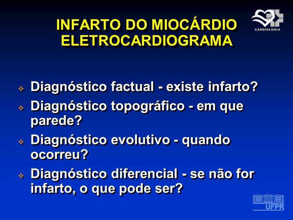 INFARTO DO MIOCÁRDIO ELETROCARDIOGRAMA Diagnóstico factual - existe infarto? Diagnóstico topográfico - em que parede? Diagnóstico evolutivo - quando o