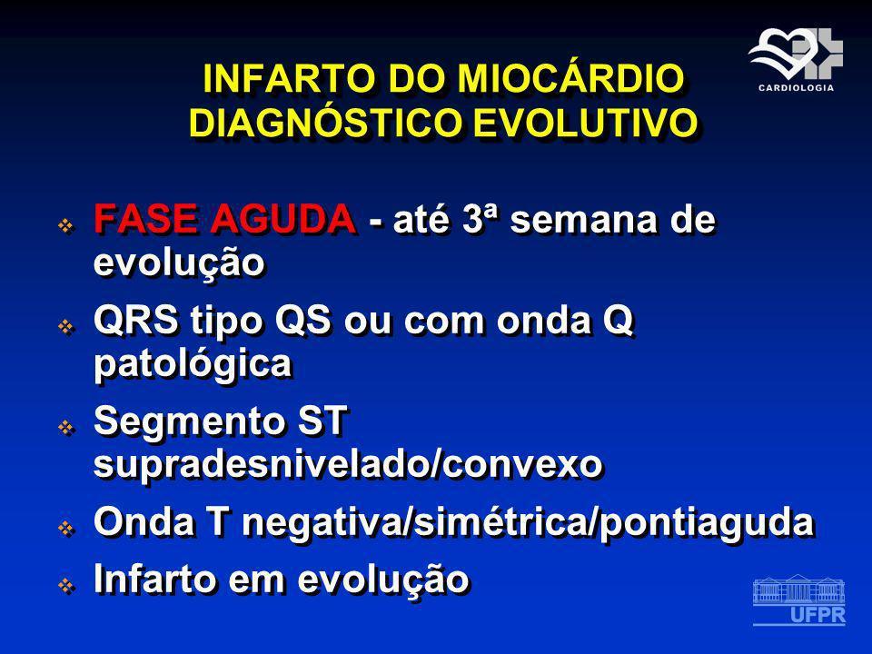 INFARTO DO MIOCÁRDIO DIAGNÓSTICO EVOLUTIVO FASE AGUDA - até 3ª semana de evolução QRS tipo QS ou com onda Q patológica Segmento ST supradesnivelado/co