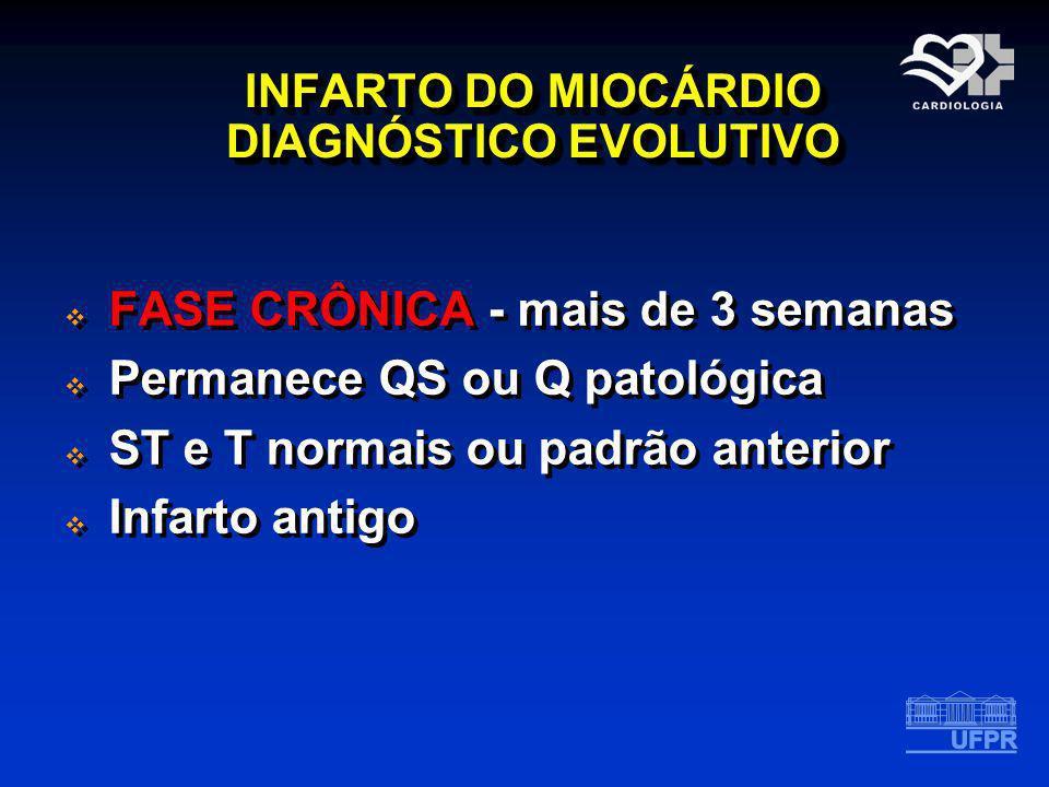INFARTO DO MIOCÁRDIO DIAGNÓSTICO EVOLUTIVO FASE CRÔNICA - mais de 3 semanas Permanece QS ou Q patológica ST e T normais ou padrão anterior Infarto ant