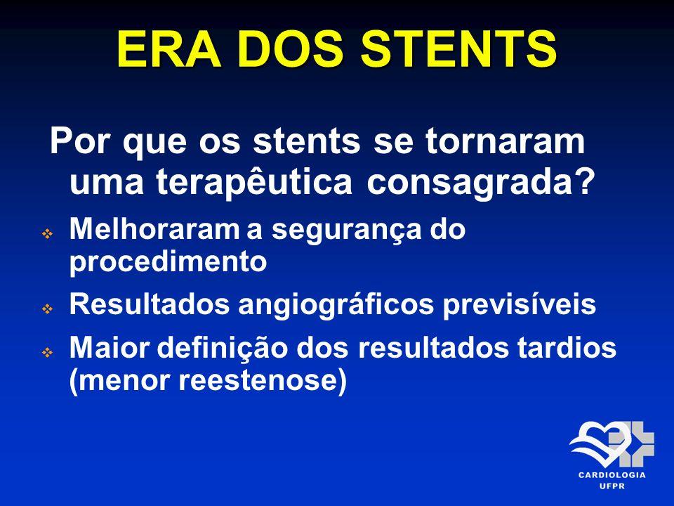 ERA DOS STENTS Por que os stents se tornaram uma terapêutica consagrada? Melhoraram a segurança do procedimento Resultados angiográficos previsíveis M