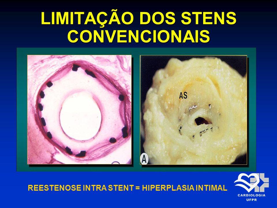 LIMITAÇÃO DOS STENS CONVENCIONAIS REESTENOSE INTRA STENT = HIPERPLASIA INTIMAL