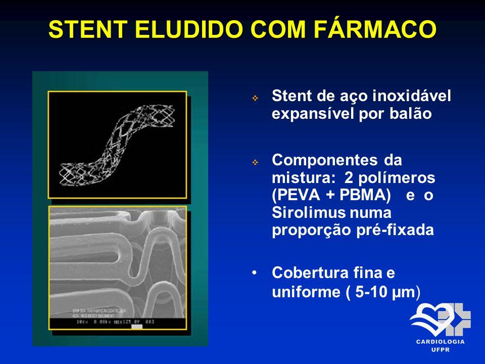 STENT ELUDIDO COM FÁRMACO Stent de aço inoxidável expansível por balão Componentes da mistura: 2 polímeros (PEVA + PBMA) e o Sirolimus numa proporção