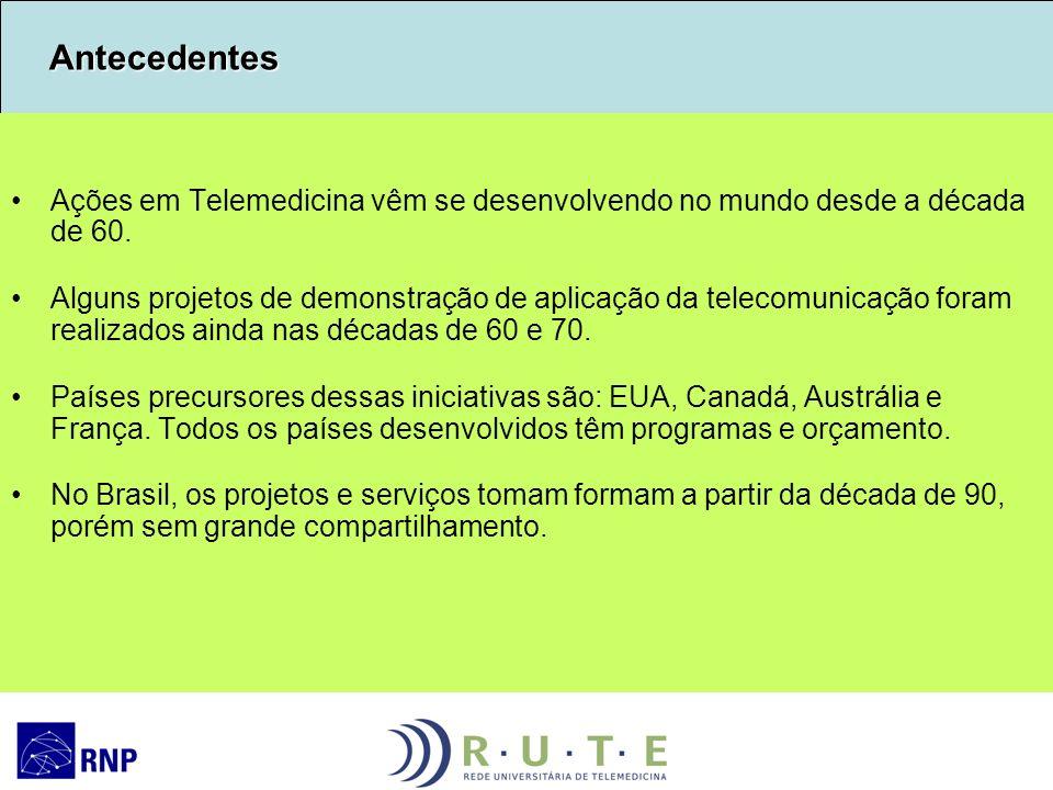 Antecedentes Antecedentes Ações em Telemedicina vêm se desenvolvendo no mundo desde a década de 60. Alguns projetos de demonstração de aplicação da te