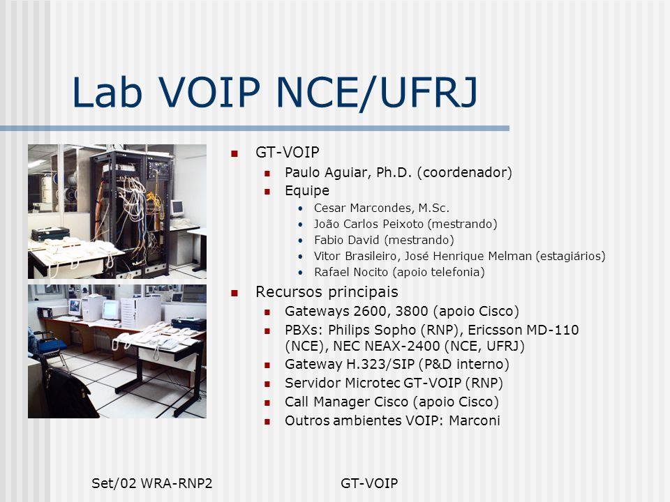 Set/02 WRA-RNP2GT-VOIP Lab VOIP NCE/UFRJ GT-VOIP Paulo Aguiar, Ph.D. (coordenador) Equipe Cesar Marcondes, M.Sc. João Carlos Peixoto (mestrando) Fabio