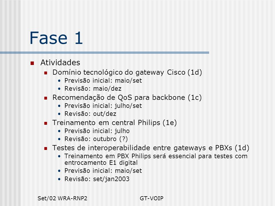Set/02 WRA-RNP2GT-VOIP Fase 1 Atividades Domínio tecnológico do gateway Cisco (1d) Previsão inicial: maio/set Revisão: maio/dez Recomendação de QoS pa