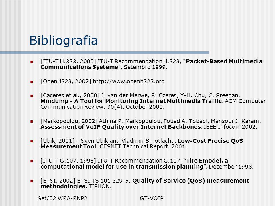 Set/02 WRA-RNP2GT-VOIP Bibliografia [ITU-T H.323, 2000] ITU-T Recommendation H.323, Packet-Based Multimedia Communications Systems, Setembro 1999.