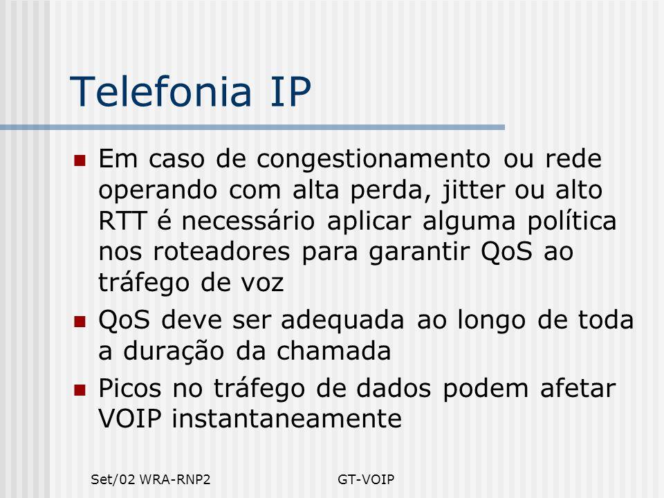 Set/02 WRA-RNP2GT-VOIP Telefonia IP Em caso de congestionamento ou rede operando com alta perda, jitter ou alto RTT é necessário aplicar alguma políti