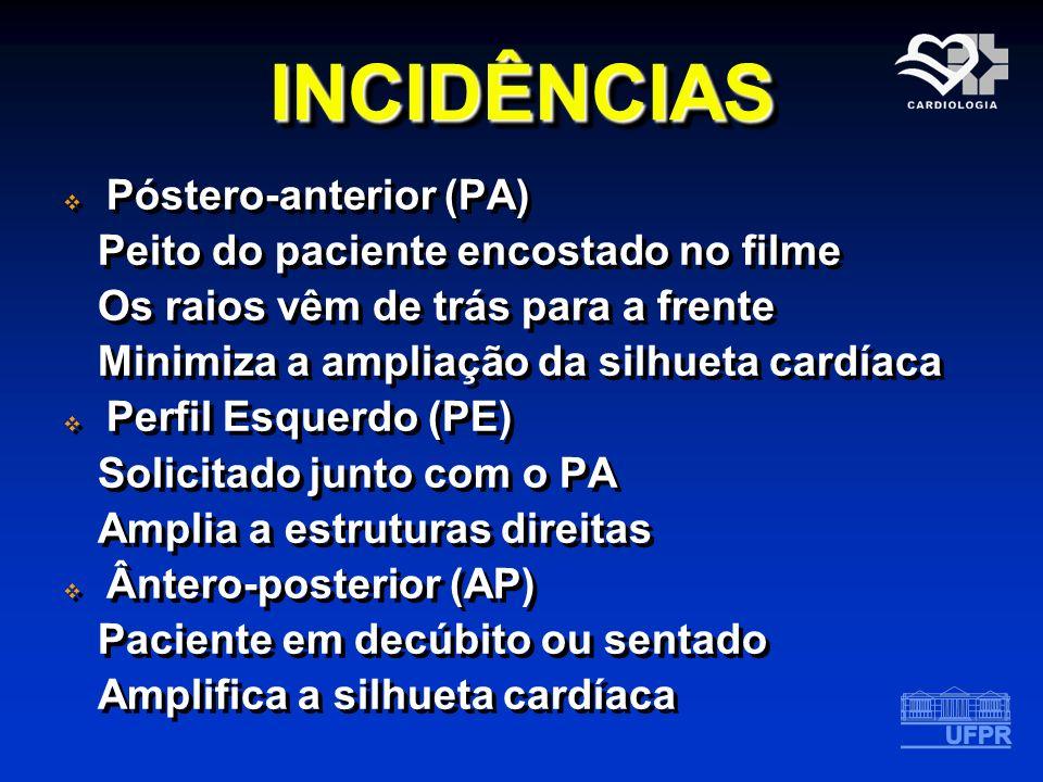INCIDÊNCIASINCIDÊNCIAS Póstero-anterior (PA) Peito do paciente encostado no filme Os raios vêm de trás para a frente Minimiza a ampliação da silhueta