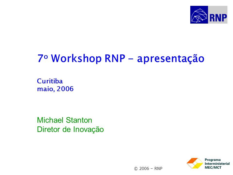 6o WRNP - apresentação2 Contexto - 1 O primeiro Workshop RNP2 foi realizado em Curitiba em 1999, e coincidia com o início de uma fase de renovação da RNP marcada por: –a criação de uma sociedade civil (Associação RNP) que se tornaria uma organização social (OS), com apoio do MEC e MCT –o início da implantação dos projeto ReMAV (Redes Metropolitanas de Alta Velocidade) –a reforma da rede nacional (em 2000), que passaria a se chamar de RNP2 –maior aproximação da comunidade do P&D