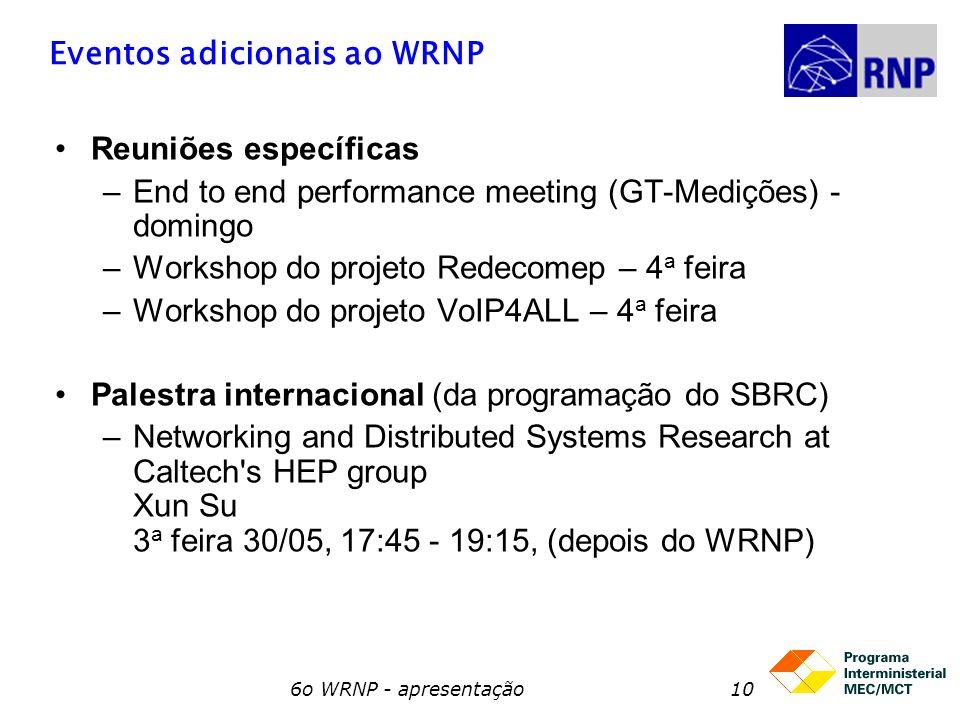 6o WRNP - apresentação10 Eventos adicionais ao WRNP Reuniões específicas –End to end performance meeting (GT-Medições) - domingo –Workshop do projeto