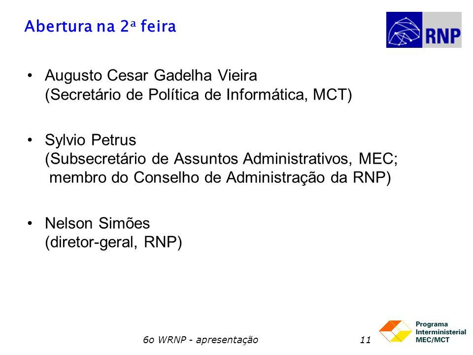 6o WRNP - apresentação11 Abertura na 2 a feira Augusto Cesar Gadelha Vieira (Secretário de Política de Informática, MCT) Sylvio Petrus (Subsecretário